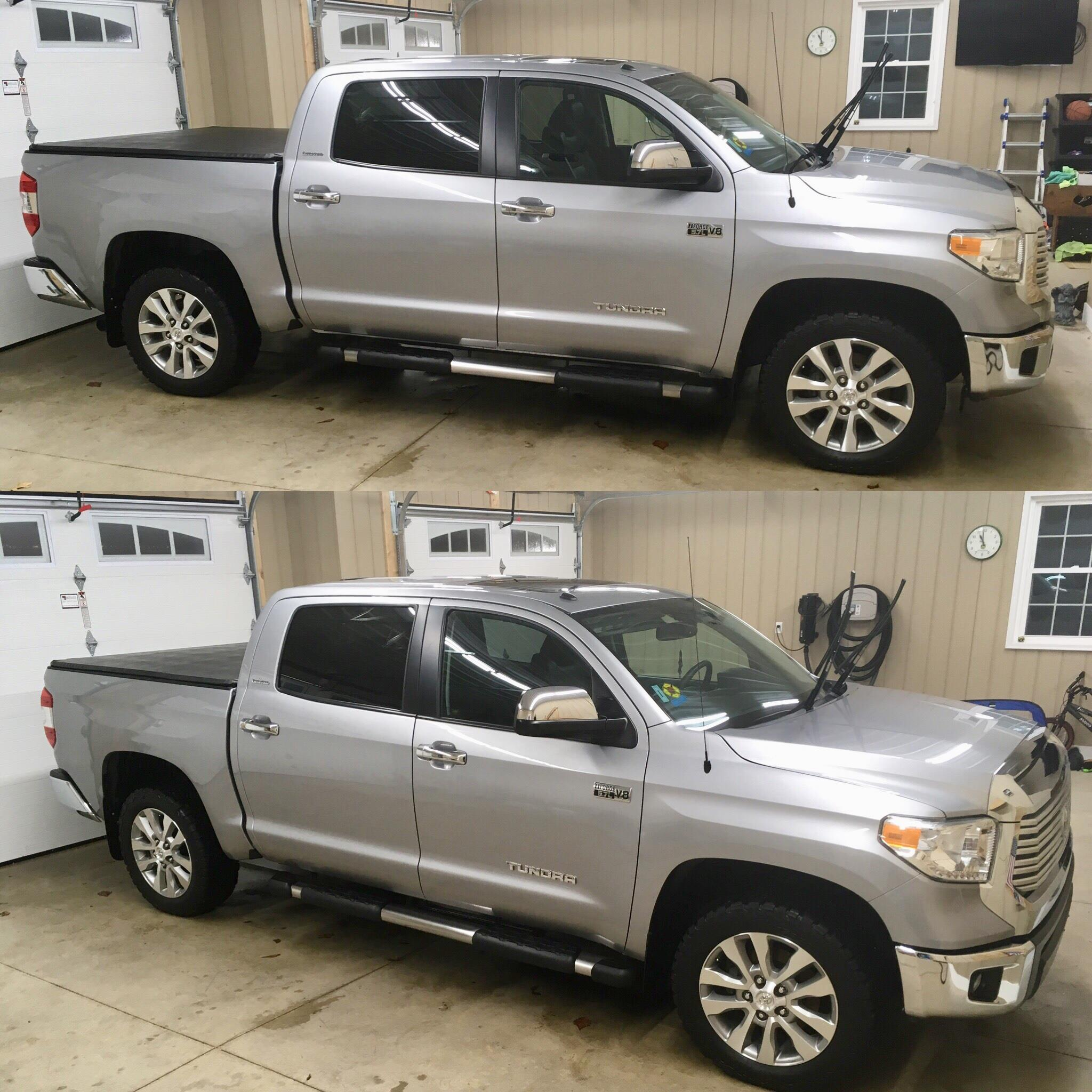 silver Tundra auto detailing